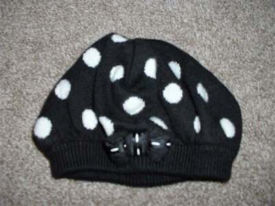 Gymboree Baby Girls Polka Dot Puppy Black Sweater Beret Hat Size 0-3 months mos