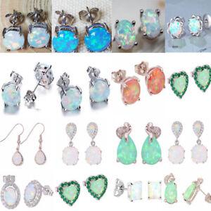 Colorful-925-Argento-fuoco-opale-di-cristallo-orecchino-Ear-Stud-Gioielli-Da-Sposa-Matrimonio