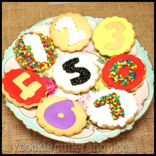 WITH NUMBER 10 IMPRINT STAMP SCALLOPED ROUND COOKIE CUTTER 8cm DIAM