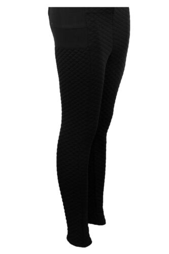 Ladies Quilted Stretch High Waist Comfy Women/'s Warm Winter Leggings Trousers