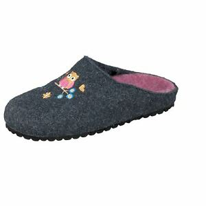 Details zu Softwaves 542 153 Mädchen Hausschuhe Eule navy Filz Pantoffeln Kinder Hausschuhe