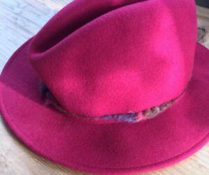 dc9794df455 Italy Mens   Women s S Brooks Fedora Hat Fabric Wool Dark Red Cap ...