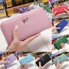 Women's lady Soft Leather Bowknot Clutch Wallet Long Card Purse Handbag Colorful