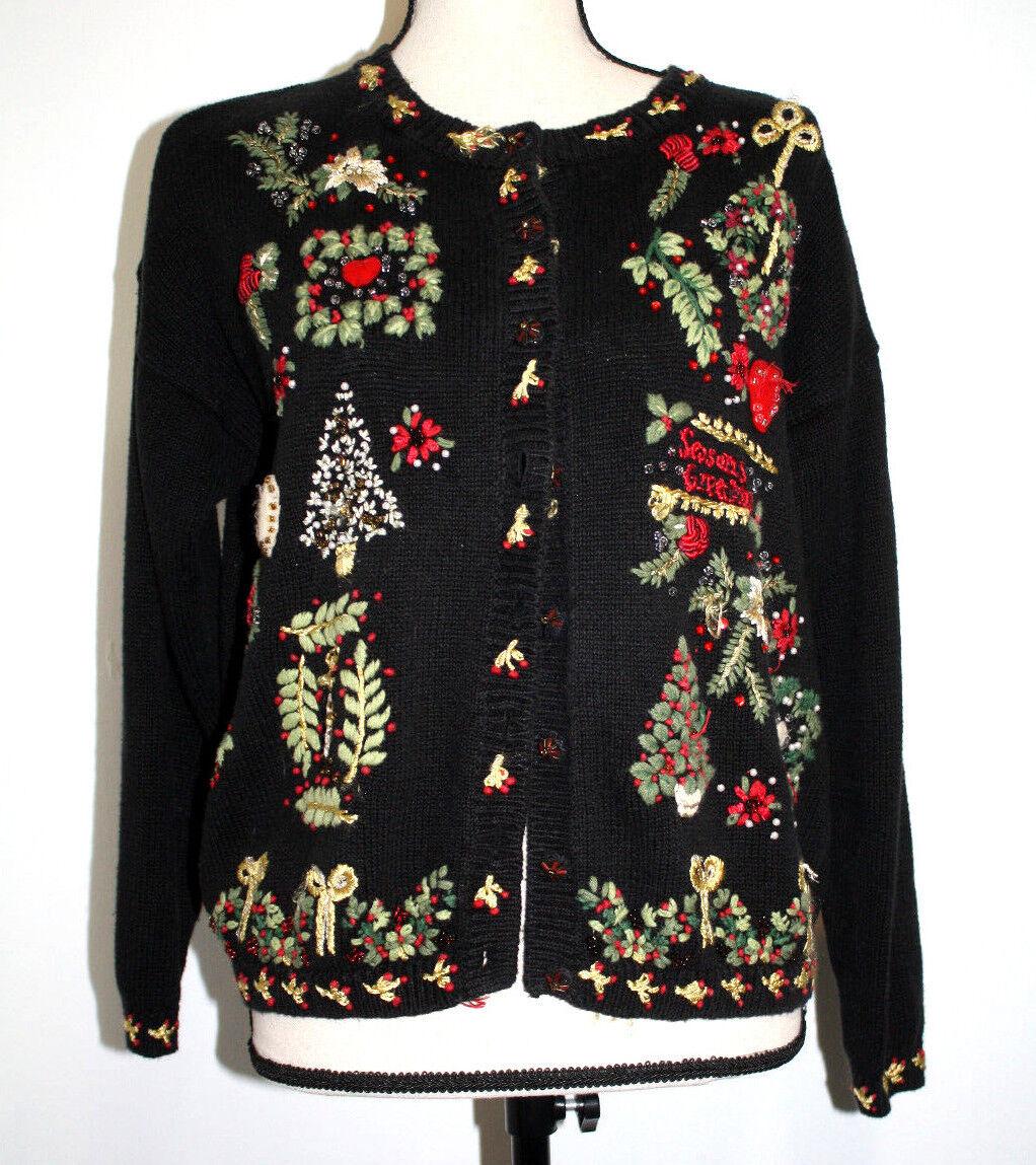 Tiara International para mujer Suéter 18-20 Negro  Bordado Ugly Christmas Sweater  ventas en linea