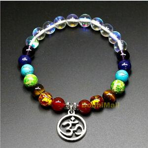Details about Clear Moon Chakra Healing Beads Mantra Charm Reiki Prayer  Yoga Bracelet