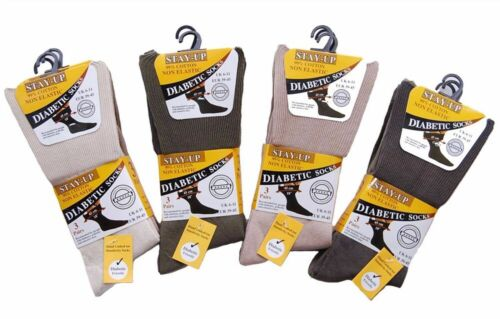 Mens Stay Up Diabetic Socks 99/% Cotton Non Elastic Loose Top Wide Fit 3 6 12 Pk