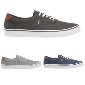 53d1bce95d Details about Ralph Lauren Thorton Washed Twill Lifestyle Casual Flats Mens  Trainers