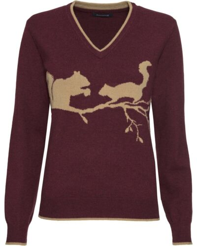 HIGHMOOR V-Pullover mit Eichhörnchenmotiv Kragenlos Langarm Pullover Damen NEU