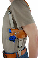 Barsony Saddle Tan Leather Horizontal Shoulder Holster Beretta Nano W/ Laser