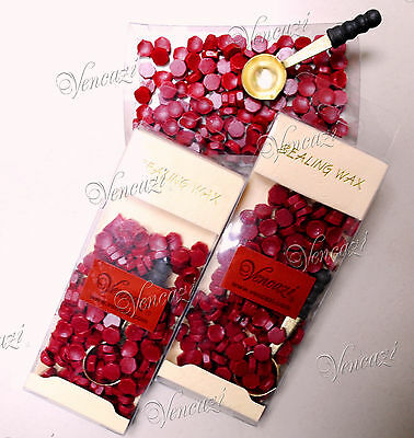 Hexagon Sealing Wax Beads with Mini Melting Spoon Pack - Burgundy(Around 150pcs)