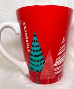 Starbucks-Christmas-Coffee-Cup-Mug-Grande-2017-Red-Green-White-Trees-13-Oz
