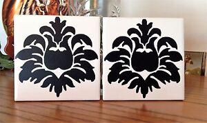Damask Ceramic Tile Coaster Set Of 2 Ebay