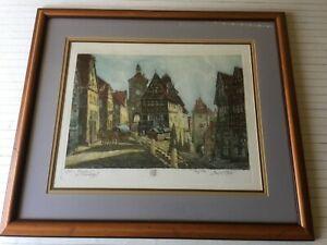 "VTG Prof. Probst ""Rothenburg"" Original Hand Colored Etching Print w/COA, Signed"