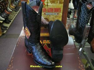ccb2760c0ab Details about LOS ALTOS MEN CHERRY GENUINE FULL QUILL OSTRICH ROUND TOE  WESTERN COWBOY BOOT D