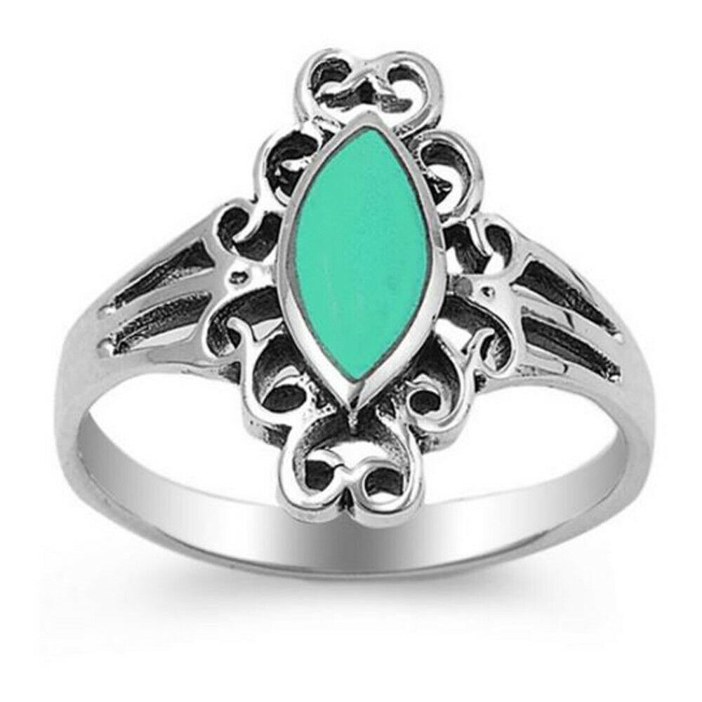 Women 17mm Sterling Silver Marquise Turquoise Filigree Vintage Style Ring