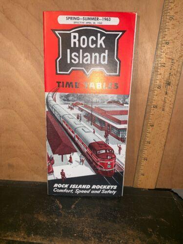 ROCK ISLAND Spring Summer 1963 Time Tables RR STATION Rockets