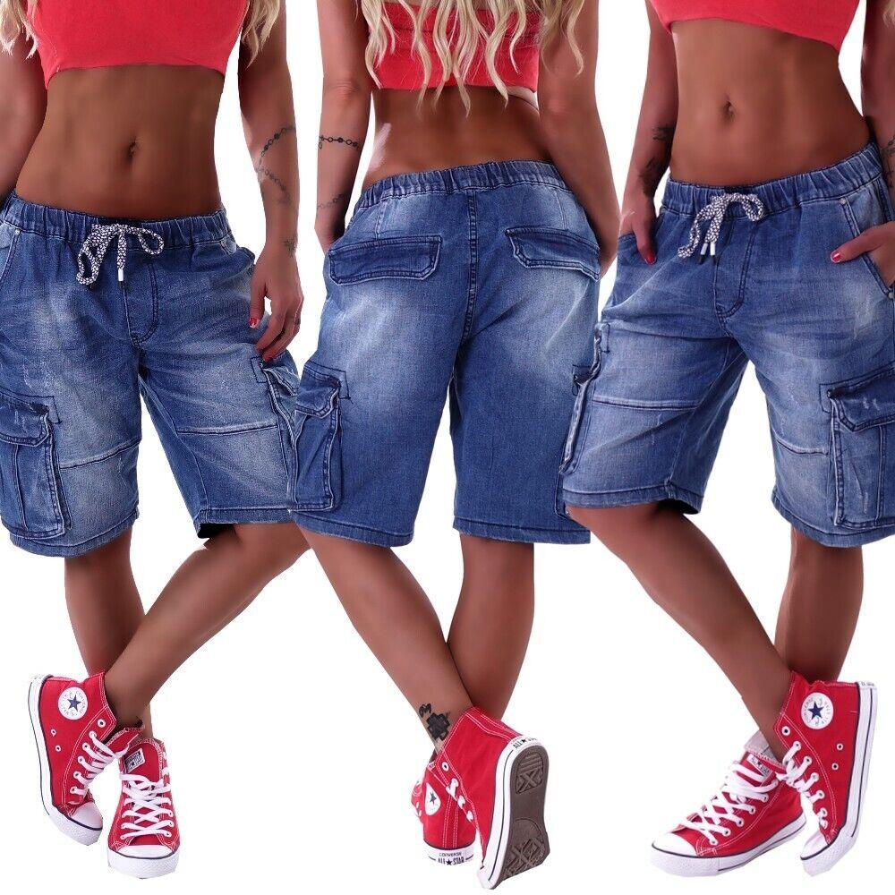 Unisex Boyfriend Jeans Baggy Harem Hose Hüftjeans übergrößen Capri Shorts D08