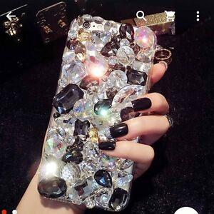 CLEAR-DIAMOND-DESIGNER-BLING-DIAMANTE-CASE-COVER-IPHONE-5S-6-6S-7-S7-S8-EDGE-UK
