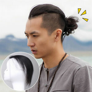 Hand-Made-Slicked-back-Crown-Hairpiece-Men-Invisible-Quif-Head-Human-Hair-Topper