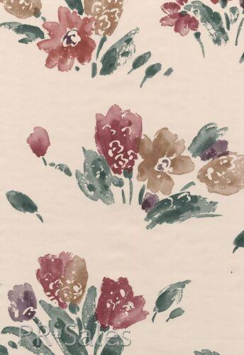 Violet Burgundy Rose Tan Modern Kimiko Painted Flower Ivory Light Roll Wallpaper