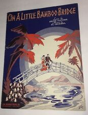Graphic Art On A Lityle Bamboo Bridge  Sheet Music Pretty Lady Art Deco By Miska