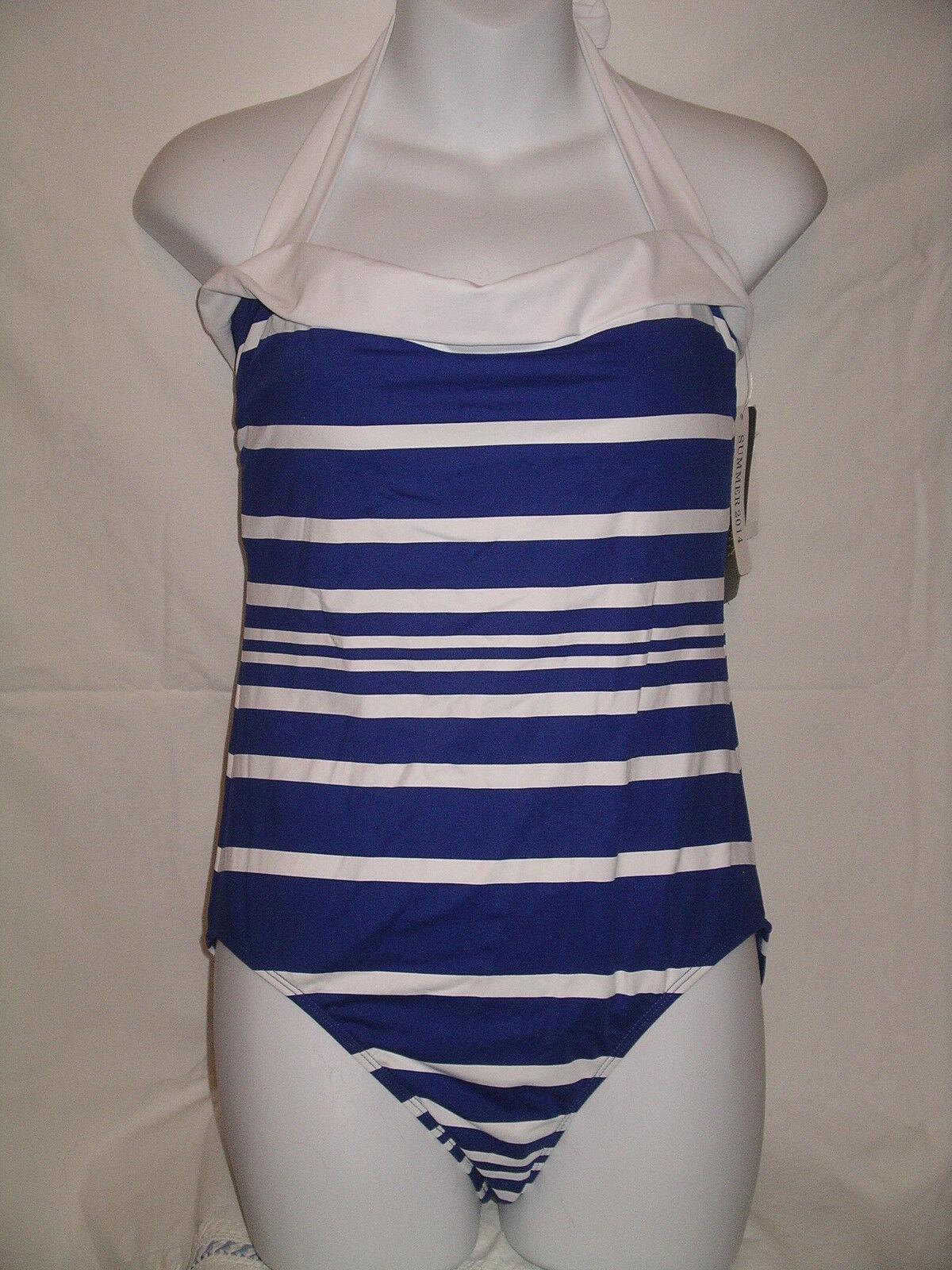 RALPH LAUREN Navy bluee & White MIO Stripe 1 Pc Tank Swimsuit - 10 - NWT  109