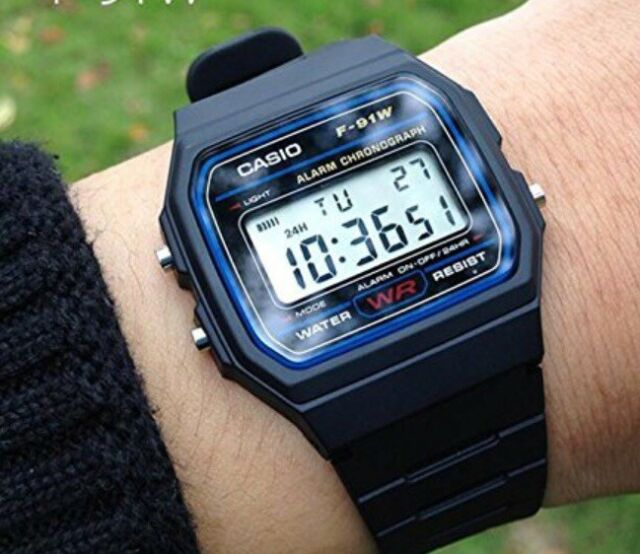 BRAND NEW GENUINE  Casio F-91W-1YER  Stopwatch Alarm Classic Black Watch SALE