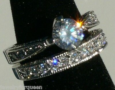 Chic 2pcs1.9 ctw CZ Cubic Zirconia Engagement Wedding ring set Size 6,7,8,9,10