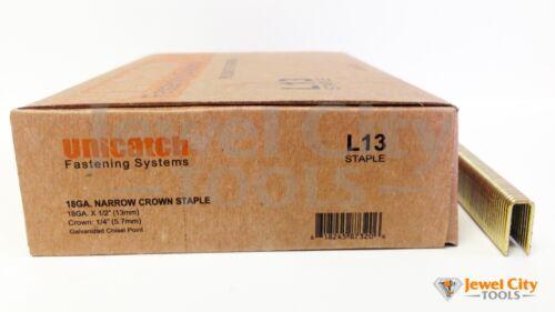 "L08 staples Unicatch L13 18 Gauge Narrow Crown Staples 1//4/"" Crown x 1//2/"" Leg"
