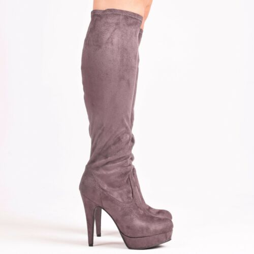 Boots stretch platform high heel fitted knee high Ladies Womens size 3 4 5 6 7 8