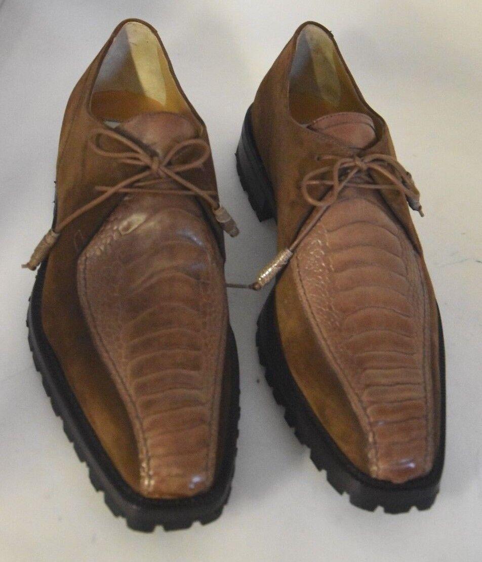 MAN-8eu-9us-DERBY-BROWN SUEDE+OSTRICH LEG-CAMOSCIO+ZAMPA STRUZZO-LEATHER SOLE SOLE SOLE 15c02c