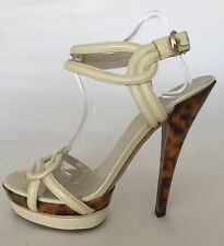 "GUCCI Cream Patent 6"" Animal Print Stiletto Heel Ankle Strap Shoes EU 41 UK 8"