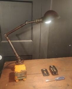 Image Is Loading Vintage Industrial Desk Lamp W USB Ports Machinist