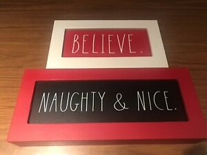 New Rae Dunn Wooden Christmas Signs Naughty Nice Believe Set Of 2 Ebay