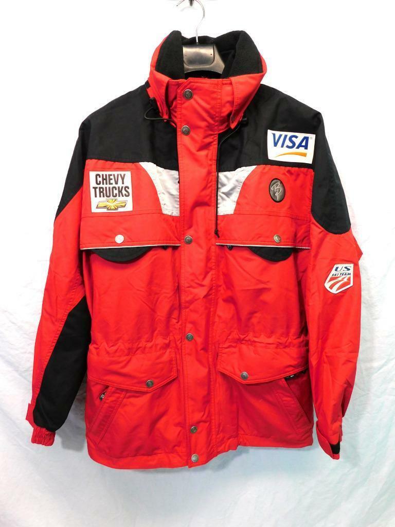 Bjorn M Rojo Negro Chaqueta de equipo de  esquí de Estados Unidos patrocinador logotipos de invierno abrigo para hombre trasera con ventilación  A la venta con descuento del 70%.