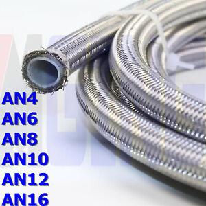 AN4-AN6-AN8-AN10-AN12-E85-PTFE-Teflon-Nylon-Steel-Braided-Fuel-Line-Hose-20FT