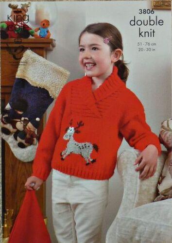 KNITTING PATTERN Childrens Long Sleeve Roll Collar Jumper Reindeer designDK 3806