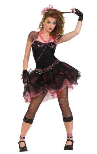 Ladies Madonna Costume Wild Child Pop Diva 80s 1980s Rock N Roll Fancy Dress