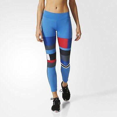 Gut Adidas Women's Wow Dna Long Bold Blue Running Fitness Leggins Ap9528