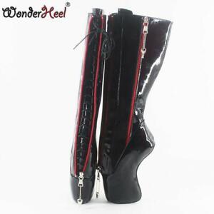 18cm-Curved-Heel-Black-Shiny-Inner-Lacing-Locked-Zipper-Womens-Mid-Calf-Boots-sz