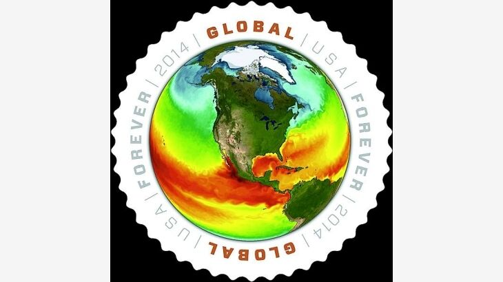 2014 $1.15 Map of Sea Surface Temperatures Global Forev