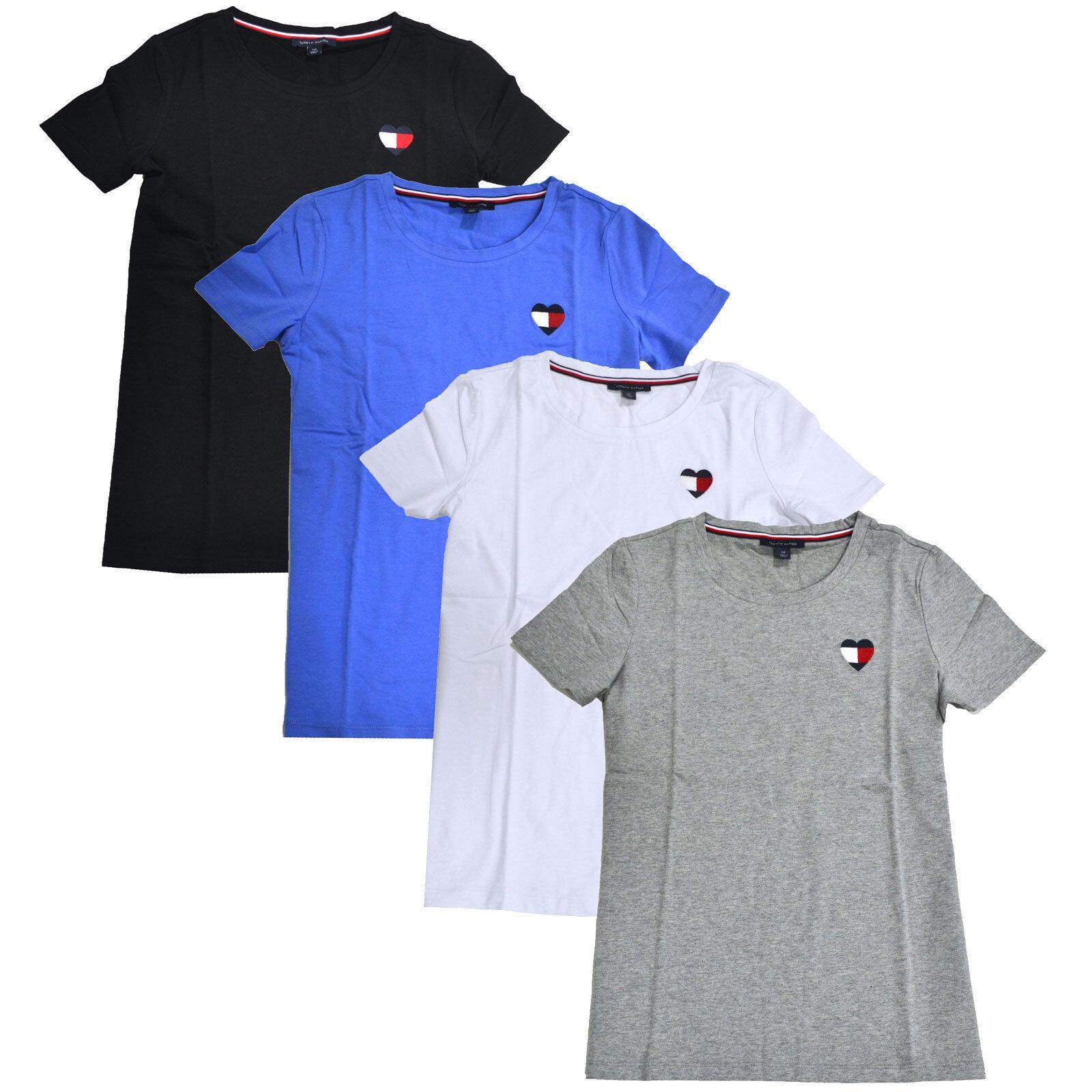 2ec95157fabc Buy Tommy Hilfiger Womens 1478 White JEWEL Neck Short Sleeve Top L B B  online