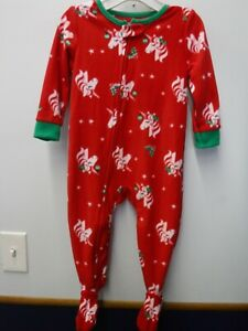 CARTER/'S GIRLS SIZE 18 MONTHS 3 PC CHRISTMAS REINDEER PAJAMAS NEW #16216