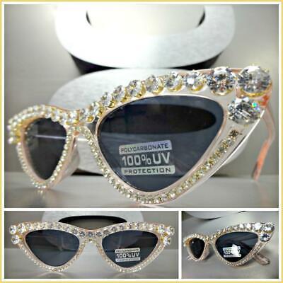 Classy Elegant Exotic RETRO CAT EYE Style SUN GLASSES Gold Frame Bling Crystals