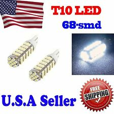 2 X Super White T10 68-SMD Wedge LED Light bulbs 192 168 194 W5W 2825 158