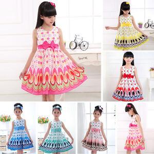 Kids-Baby-Girls-Bow-Belt-Sleeveless-Princess-Dress-Party-Wedding-Peacock-Gown