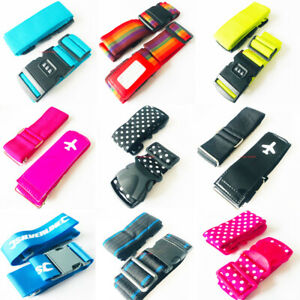 Luggage-Suitcase-Straps-Heavy-Duty-Snap-Buckle-Neon-easily-Spotted-Combination