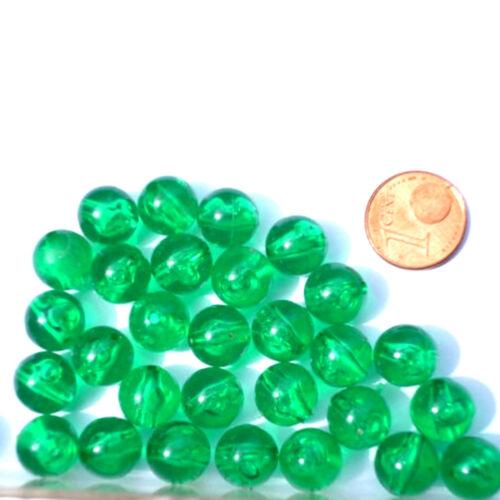 Plastikperlen 30 Stück Plastik Kugel 10 mm grün transparent Kunststoffperlen