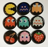 Pac-man & Ghosts Lot Of 9 1 1/4 Buttons Or Magnets