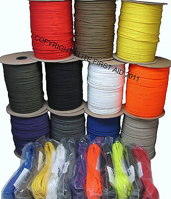PARACHUTE CORD PARACORD 550 MIL SPEC TYPE III 7 STRAND 1 50 100 1000 FT US MADE